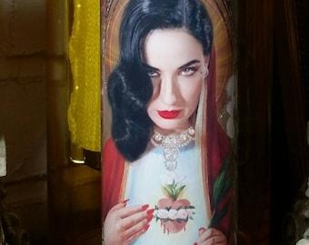 Dita Von Teese Gorgeous Celebrity Saint prayer Candle