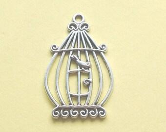 5 Birdcage Charms Silver Bird Cage Charm - CS2116