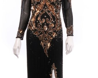 Vintage black and bronze sequinned ball gown size 10/12