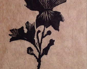 original limited edition woodcut print of flower