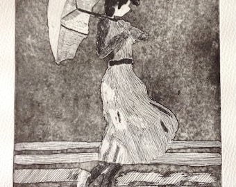 original  limited edition etching of  'Vettriano girl'