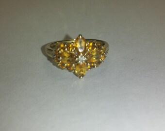 Vintage citrine and diamond 14k ring