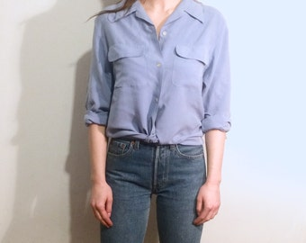 Vintage 90's | Powder blue silk long sleeves shirt | Size 8