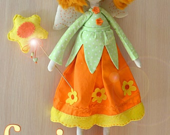 Primitive flower fairy, funny doll textile, orange tilda,  bright red-haired rag doll, eco cloth fairytale, girl gift, Country Keepsake