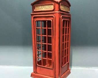 Vintage metal London phone booth money box & decorative, retro style decoration, vintage coin box,London miniature