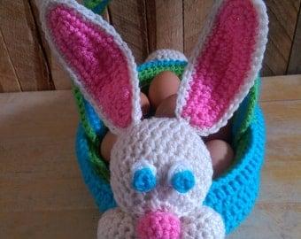 Bunny Easter Basket, Bunny Rabbit, Crochet Basket, Stuffed Bunny Basket, Easter Bunny, Crochet Easter Bunny, Kids Basket, Plush Basket