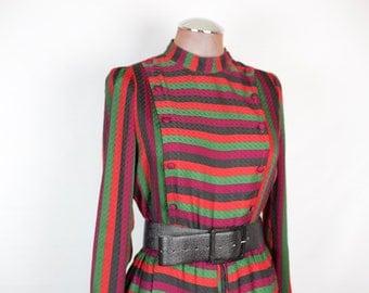 VINTAGE 80s black red green purple striped dress
