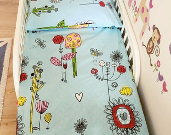 Fitted Bedsheet for Crib/Toddler Bed with Full Size Pillowcase