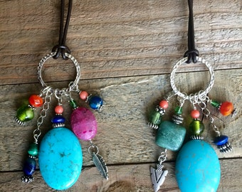 Fun and colorful long leather necklace with silver ring and semi-precious stones