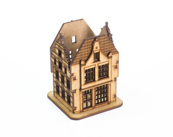 Unfinished custom desk organizer. Amsterdam miniature House-storage for crafts
