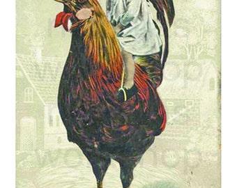 Boy on a Chicken Printable Art 4x6 Illustration Vintage Rooster Artwork Postcard Greeting Card Frame-able | High Quality JPEG Download