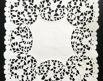 "8"" x 8"" Square Lace Paper Doily // Party Craft, Embellishments, Envelopes, Home Decor, Treat bags (50 pieces)"