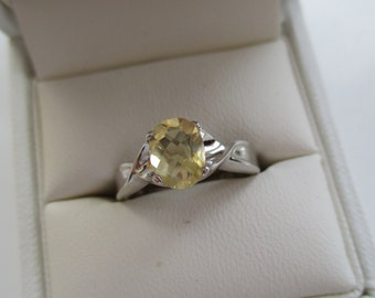 Hand Crafted 925 Sterling Silver Citrine Ring  -  Ring Size N