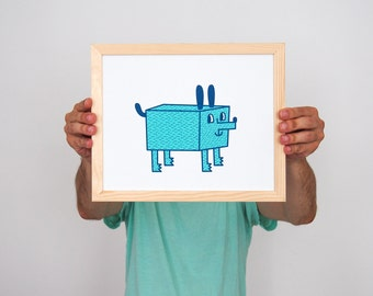 Graphic print-Dog-24 x 30 cm/approx. 9.4 x 11.8 inch-hand printed original screen printing on paper-Illustration Art-limited edition