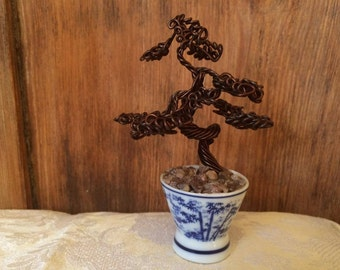 Miniature Wire Bonsai Tree Sculpture in Japanese-Style Pot