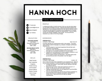 Creative Resume Template For Word U0026 Pages | 1 And 2 Page Resume, Cover  Letter  Resume 2 Pages