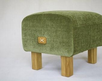 Ottoman, Upholstered Ottoman, Wood bench, Upholstered bench, Green Ottoman, Seat, Pouf, Olive Ottoman, Oak Chair, mySAMshop, Colour 69
