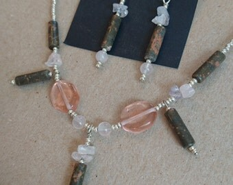 Beautiful Rose Quartz and Unikite Necklace/Earring Set!