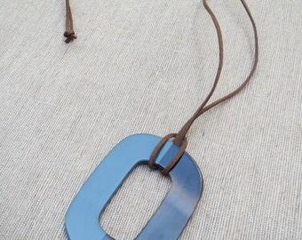 Blue Grey Pendant Necklace, Horn Pendant Necklace, Pendant Necklace, Blue Statement Necklace, Blue Necklace, Statement Pendant, Pendant