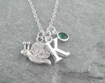 Snail necklace, silver snail pendant, initial necklace, swarovski birthstone, personalized jewelry, birthstone jewelry, gift for her