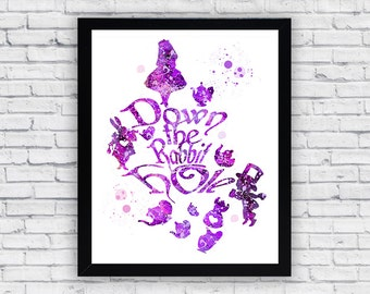 Down The Rabbit Hole Alice in Wonderland Watercolor print, Down The Rabbit Hole Printable Wall Art, Down The Rabbit Hole poster