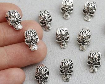 15Pcs Antique Silver Skull Beads, Skull Beads, Halloween Skull, Silver Skull, 12x7mm(Approx), sku/CTN11