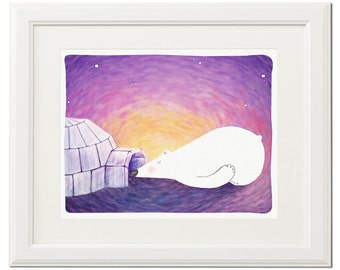 Dream-White-Polar bear-Digital artwork-Original art-Print-Nursery-Wall decor-Instant download-Printable-Gift