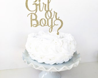 Girl or Boy Gender Reveal Cake Topper / Gender Reveal Party Decor / Dessert Table / He or She / Blue or Pink / Baby Announcement