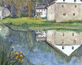Signed Print of Watercolor - Reflections at Grings Mill, Reading, PA