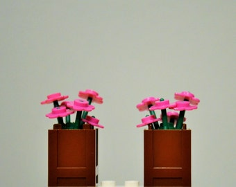 LEGO Flowers 12 Dark Pink and 2 Reddish Brown Planters