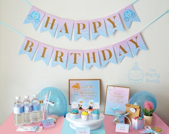 Cinderella Birthday Printable Party Kit Package | Girls Princess Party | Sweet Pastel Blue Pink | PERSONALIZED Party Pack | DIY Digital PDF