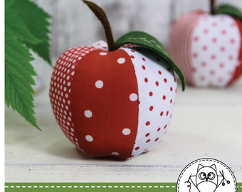 APPLE SEWING PATTERN. apple pattern. red apple sewing pattern. green apple. pincushion pattern. pdf pattern. © Blue Owl Land