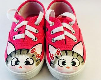 Hand painted Cat shoes