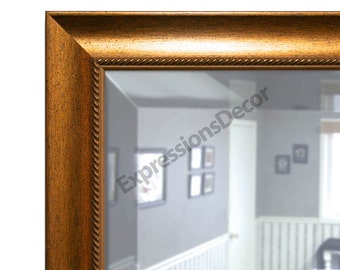 Custom Gold Speckle Wall Mirror - Beveled Glass - FREE SHIPPING