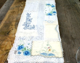 Table runner blue vintage linens weddings wedding tea party parties antique embroidered doily rustic country backyard bohemian shabby chic