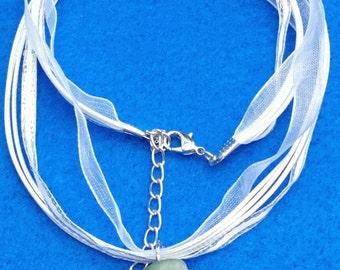 White Ribbon, White  Necklace, Ribbon Necklace, Semi-Precious Stones, White Ribbon Necklace with Gray Aventurine Pendant