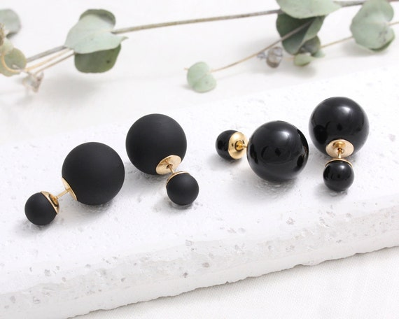 black front and back stud earrings matte black or shiny