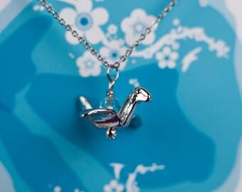 Origami Crane Necklace - Paper Crane Necklace - Folded Crane Necklace - Bird Necklace - Crane Necklace - Crystal Necklace