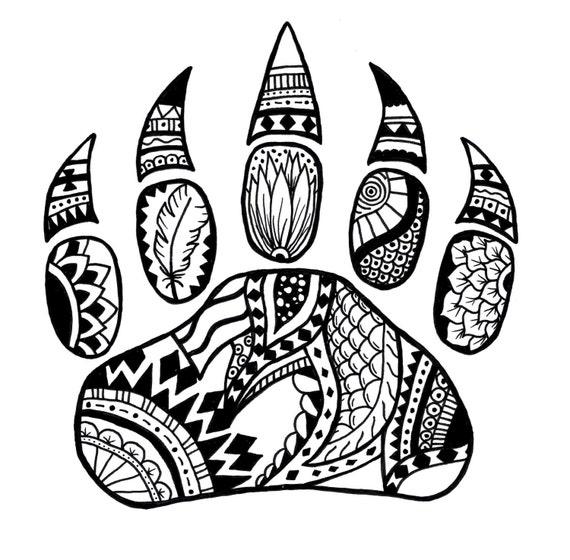 Bear Paw zentangle art black and white art art print