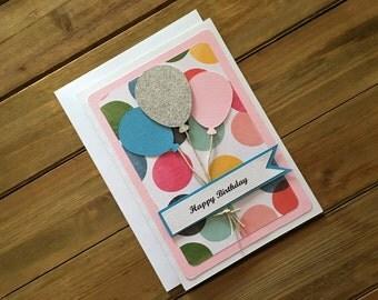 Handmade Balloon Birthday Card, Balloon Card, Birthday Card, Card for Her, Pretty Birthday Card, Girl Birthday Card, Birthday Card for Her