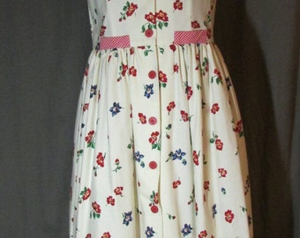 Shirtwaist White and Pink Floral Border Dress with Attached Matching Gingham Scarf by Cottontails 80's Does 1950's | Size 10 | Made in USA