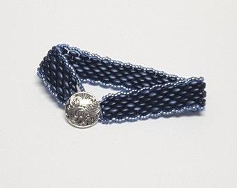 Blue Beaded Peyote Duo Bracelet