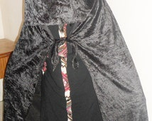 Halloween Costume Velvet Hooded Cloak Red/ Black Colour Adult and Child Size