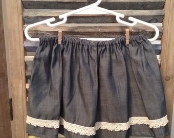 Baby Denim skirt, baby clothing, Girls denim and lace skirt, Size 18 months skirt, #39