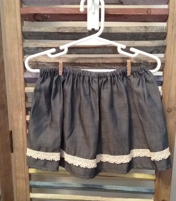 baby denim skirt baby clothing denim and lace skirt