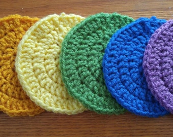 Rainbow Solid-colored Circular Crocheted Coasters - Set of Four