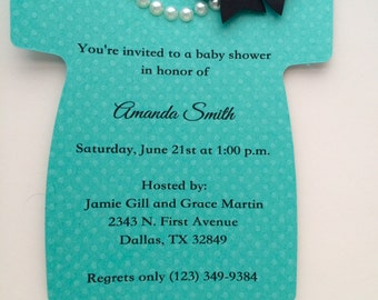 Baby Shower Onesie Invitation in Tiffany Teal Blue with Pearls