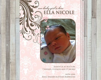 Pink Flowers/Swirls New Baby Birth  Announcement