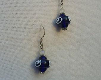 Royal Blue Swirl Earrings