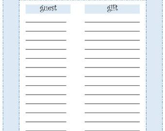 Guest Gift List